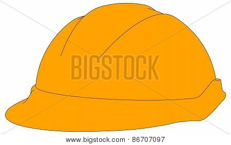 Industrial orange hard hat. Vector illustration
