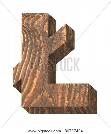 Pound sign from old pine wood alphabet set isolated over white. Computer generated 3D photo rendering.