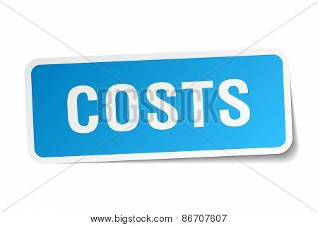Costs Blue Square Sticker Isolated On White