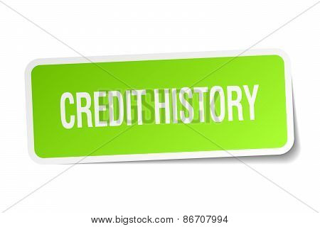 Credit History Green Square Sticker On White Background