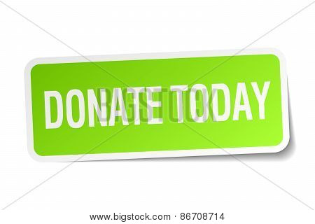Donate Today Green Square Sticker On White Background