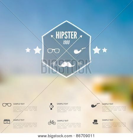 Abstract defocused, blurred landscape background with hipster sign. Vintage label with retro icons.