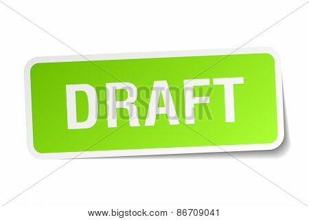 Draft Green Square Sticker On White Background