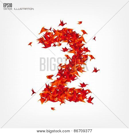 Number 2. Numbers with origami paper bird on abstract background