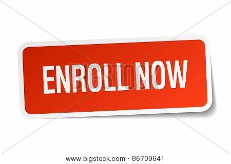 Enroll Now Red Square Sticker Isolated On White