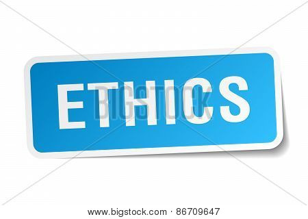 Ethics Blue Square Sticker Isolated On White