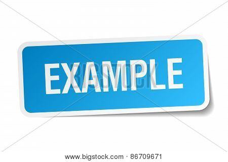 Example Blue Square Sticker Isolated On White