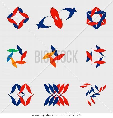A set of nine logos