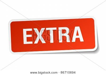 Extra Red Square Sticker Isolated On White