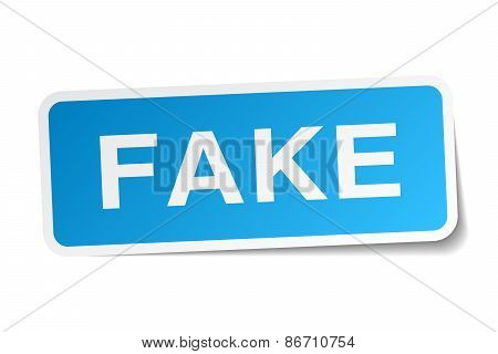 Fake Blue Square Sticker Isolated On White
