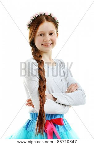 Beautiful little girl, isolated on white