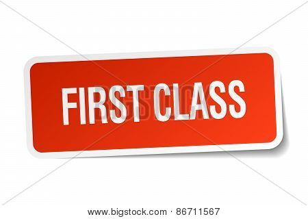 First Class Red Square Sticker Isolated On White
