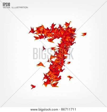 Number 7. Numbers with origami paper bird on abstract background