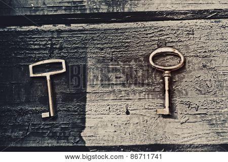 Old Lost Key On Floorboards