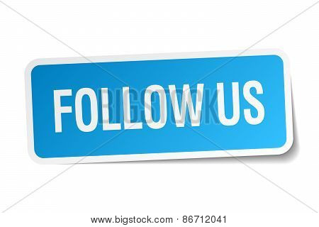 Follow Us Blue Square Sticker Isolated On White