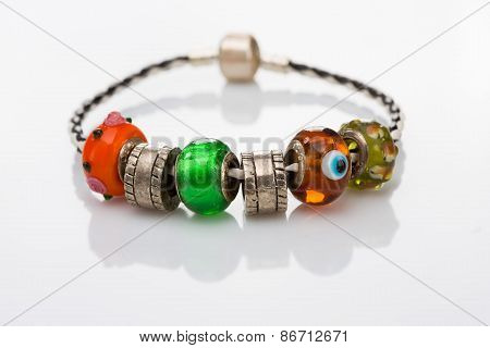 multicolored beads bracelet isolated