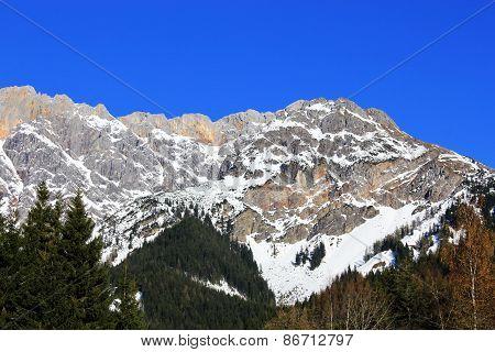 Winter Austria Mountain In The Alps