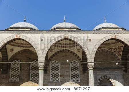 Courtyard Of The Mosque Of Sultan Ahmed In Istanbul