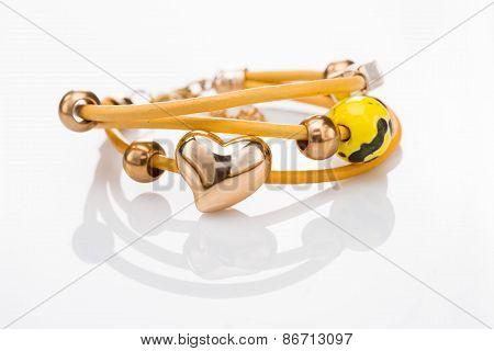 Beautiful bracelets on white background.