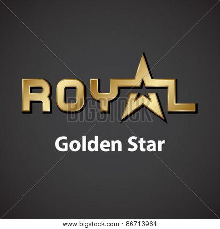 vector royal golden star inscription icon