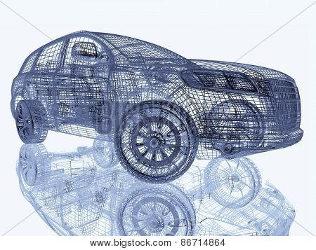 Car model on white background with reflection