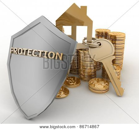 3d house symbol with key on Pile of gold coins covered by protection shield. Concept of protection of mortgage credit