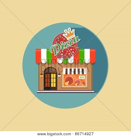 Vector Modern Flat Design Square Architecture Web Icon On Retro Style Local Pizza Shop Brown Facade