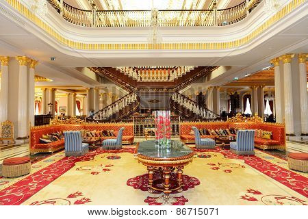 Antalya, Turkey - April 23: The Lobby Of Mardan Palace Luxury Hotel, It Is Considered Europe's Most