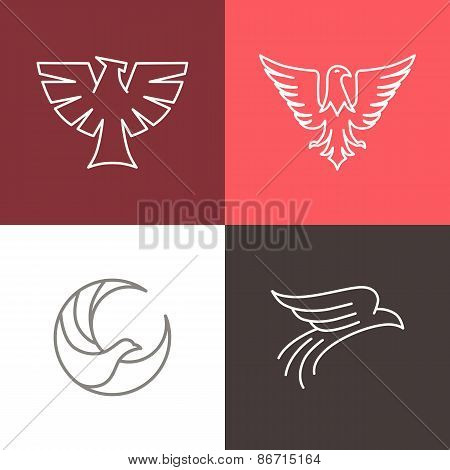 Vector Eagle And Falcon Linear Logos