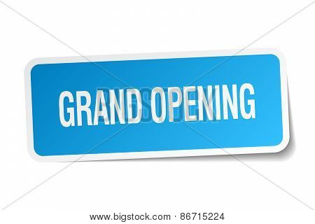 Grand Opening Blue Square Sticker Isolated On White