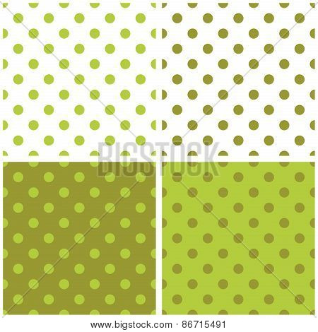 Tile vector pattern set with green polka dots