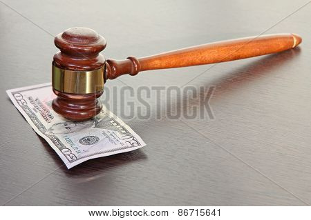 Judge Gavel And Fifty Dollars.