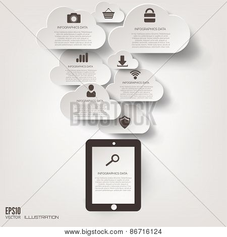 Cloud icon. Flat abstract background with web icons. Interface symbols. Cloud computing. Mobile devi