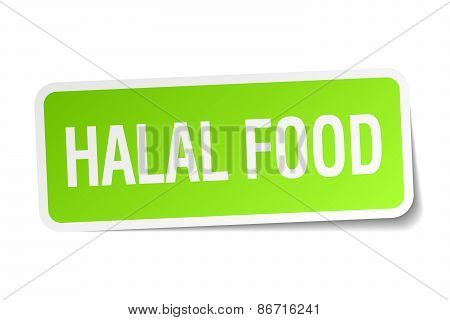 Halal Food Green Square Sticker On White Background