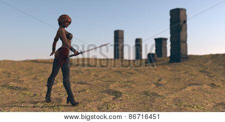 warrior woman in desert