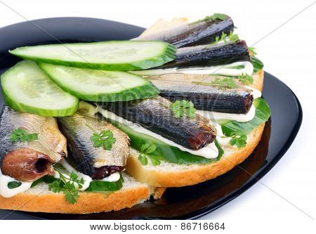 Sprats Sandwiches, Appetizer On Plate Isolated On White