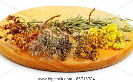 Herbs, Calendula Flower, Oats, Immortelle Flower, Tansy Herb Isolated