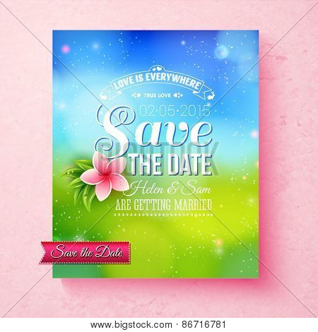 Fresh colorful Spring Save The Date template