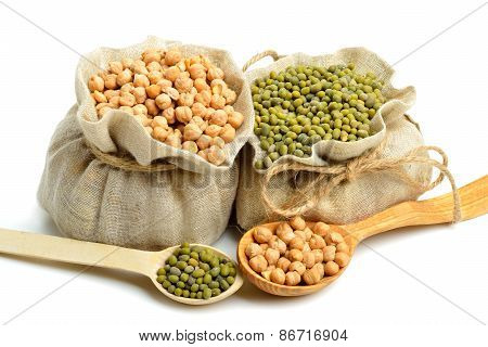 Chick-pea, Mung Beans In The Sacks And Spoon Wooden  Isolated On White