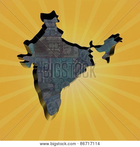 India map on Rupees sunburst illustration