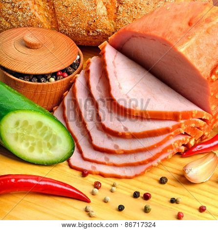 Sliced Meat Ham With Cucumber, Raw Champignon Mushrooms, Red Pepper, Garlic, Pepper In Corns On The