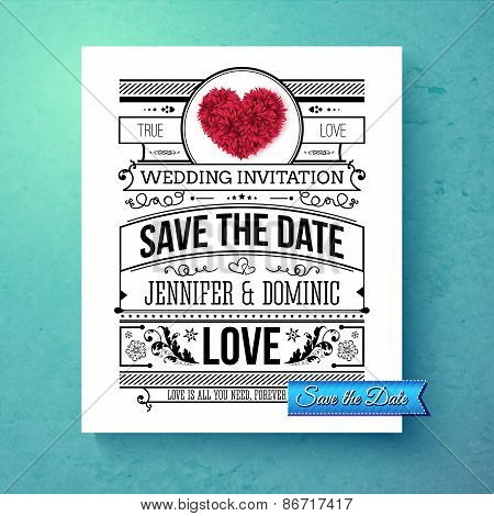 Retro stylish Save The Date wedding template