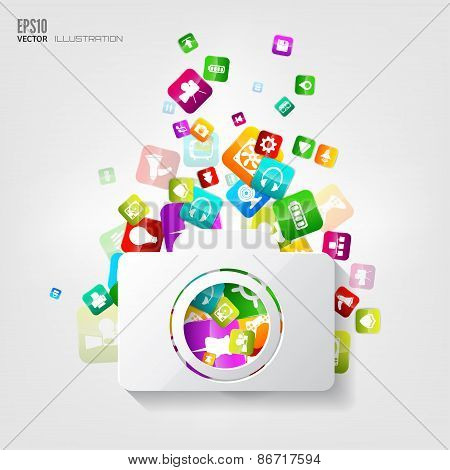Photocamera icon. Application button.Social media.Cloud computing.