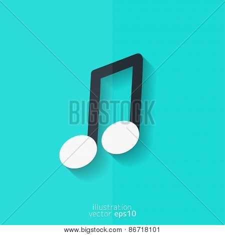 Music note icon. Musical background. Flat design.