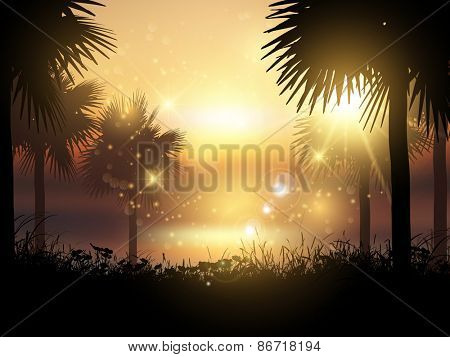 Silhouettes of palm trees against a sunset tropical landscape
