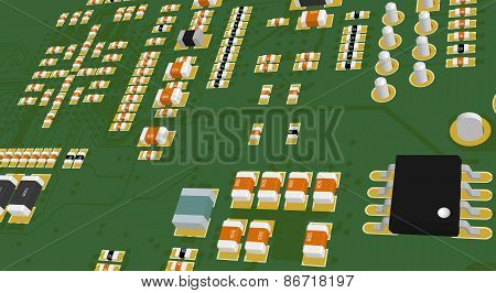 Printed Circuit Board Green With Resistors And Capacitors