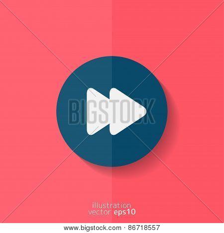 Forward or skip icon. Media player. Flat design.