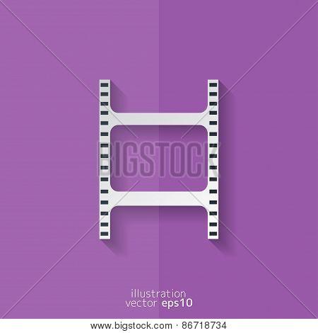 Film web icon. Filmstrip symbol. Flat design.