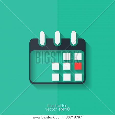 Calendar organizer icon. Date symbol. Flat design.