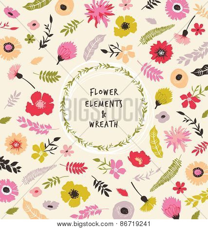 Flourish background and wreath for Wedding Invitation, Save the Date, RSVP,  Mother's day and Valentine's day greeting card.